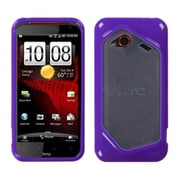 Insten® Gummy Gel Cover Case For HTC Droid Incredible 4G LTE ADR6410L, Clear/Solid Purple