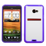 Insten® Gummy Cover For HTC EVO 4G LTE, Transparent Clear/Solid Purple