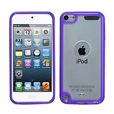 Insten® Transparent Gummy Cover For iPod Touch 5th Gen, Clear/Solid Purple