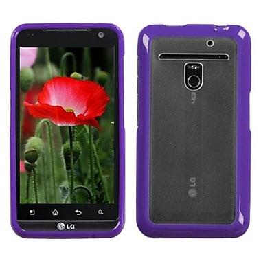 Insten® Gummy Cover For LG VS910 Revolution/Esteem, Transparent Clear/Solid Purple