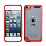 Insten® Transparent Gummy Cover For iPod Touch 5th Gen, Clear/Solid Red