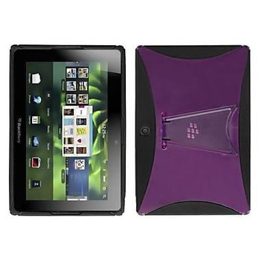 Insten® Gummy Cover With Stand For BlackBerry Playbook, Transparent Hot-Pink/Solid Black