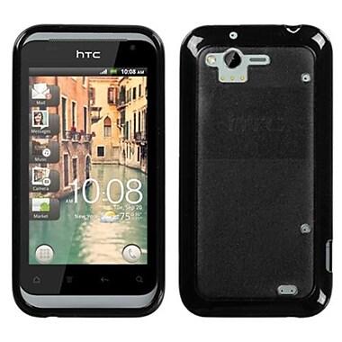 Insten® Gummy Cover For HTC ADR6330 Rhyme, Transparent Smoke/Solid Black