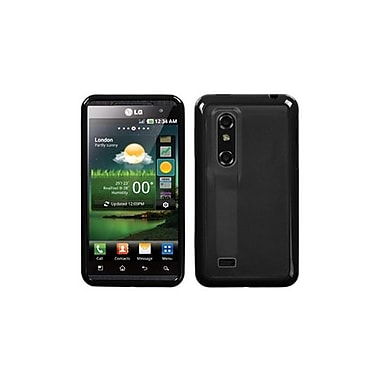 Insten® Gummy Case For LG P925 Thrill 4G, Smoke/Solid Black