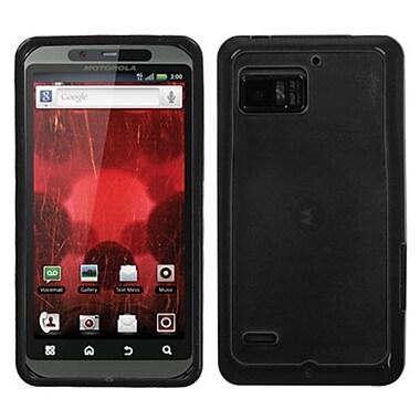 Insten® Gummy Cover For Motorola XT875 Droid Bionic, Transparent Smoke/Solid Black