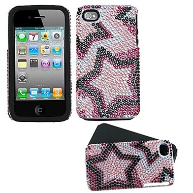 Insten® Diamante Fusion Protector Cover F/iPhone 4/4S, Pink/Black Twin Stars