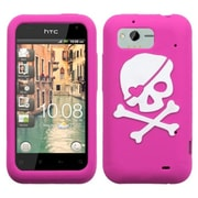 Insten® Skin Cover For HTC ADR6330 Rhyme, Hot-Pink/White Big Skull Pastel
