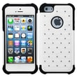 Insten® Luxurious Lattice Dazzling TotalDefense Protector Cover F/iPhone 5/5S, White/Black