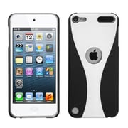 Insten® Wave Phone Back Rubberized Protector Cover For iPod Touch 5th Gen, White/Black