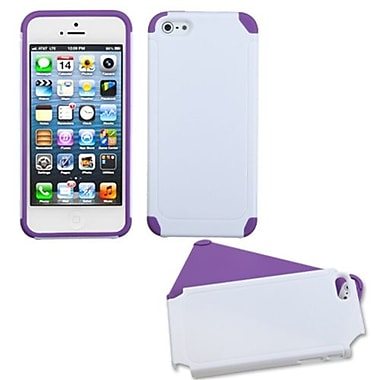 Insten® Fusion Protector Cover F/iPhone 5/5S, White/Electric Purple Frosted