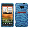 Insten® Diamante Protector Case For HTC EVO 4G LTE, Baby Blue/Dark Blue Zebra
