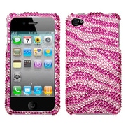 Insten® Diamante Protector Cover F/iPhone 4/4S, Pink/Hot-Pink Zebra Skin