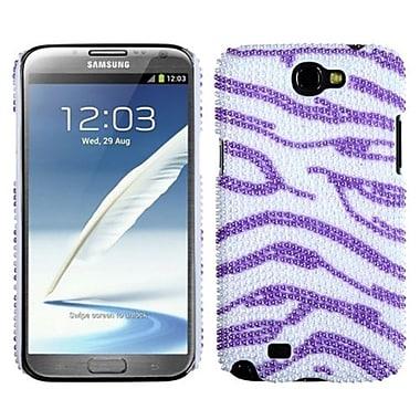 Insten® Diamante Back Protector Case For Samsung Galaxy Note II, Zebra Skin (White/Purple) Pearl