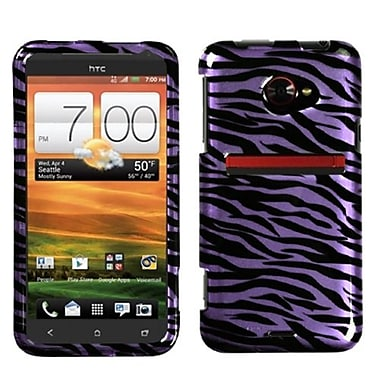 Insten® Protector Case For HTC EVO 4G LTE, Purple/Black Zebra 2D Silver