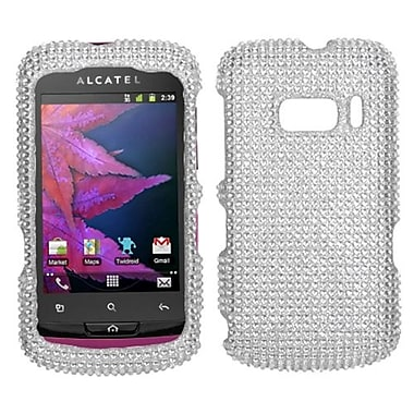 Insten® Hard Plastic Diamante Phone Protector For Alcatel One Touch 918, Silver