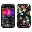 Insten® Phone Protector Cover For BlackBerry 9360/9350/9370, Lizzo Blooming Flowers 2D Silver