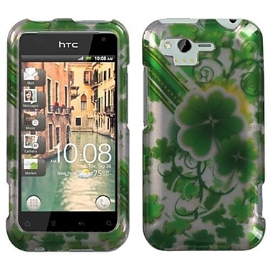 Insten® Faceplate Case For HTC ADR6330 Rhyme, Lucky Clovers 2D Silver