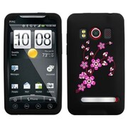 Insten® Skin Cover For HTC EVO 4G, Black Pastel Spring Flowers