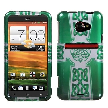 Insten® Protector Snap-In Cover Case For HTC EVO One 4G LTE, White Celtic Cross Ring Faceplate