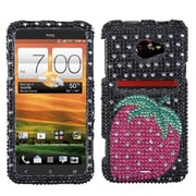 Insten® Diamante Protector Case For HTC EVO 4G LTE, Hot-Pink Strawberry Dots