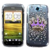 Insten® Diamante Protector Case For HTC-One S, Purple Crown Crystal 3D