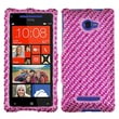 Insten® Diamante Protector Case For HTC Windows Phone 8X, Stripe Pink/Hot-Pink