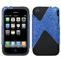 Insten® Dual Protector Case For iPhone 3G/3GS, Blue Diamante/Black