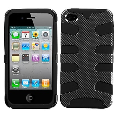 Insten® Fishbone Phone Protector Cover F/iPhone 4/4S, Carbon Fiber/Black