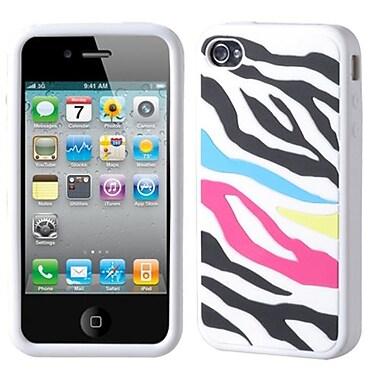 Insten® Pastel Skin Case F/iPhone 4/4S, Rainbow Zebra/White