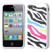 Insten® Pastel Skin Case F/iPhone 4/4S, Rainbow Zebra/White