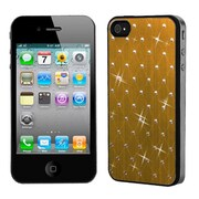 Insten® Studded Back Plate Cover W/Black Sides F/iPhone 4/4S, Gold