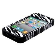 Insten® TUFF Hybrid Phone Protector Cover F/iPhone 4/4S, Zebra Skin/Black