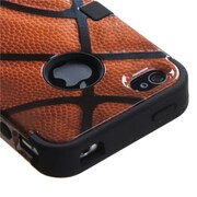 Insten® TUFF Hybrid Phone Protector Cover F/iPhone 4/4S, Basketball-Sports Collection/Black