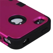 Insten® TUFF Hybrid Phone Protector Cover F/iPhone 4/4S, Titanium Solid Hot-Pink/Black