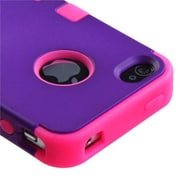Insten® TUFF Hybrid Rubberized Phone Protector Cover F/iPhone 4/4S, Grape/Electric Pink