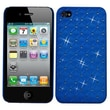 Insten® Luxurious Lattice Alloy Elite Dazzling Back Protector Cover W/Diamonds F/iPhone 4/4S, Blue