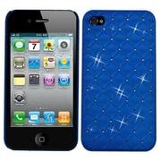 Insten® Luxurious Lattice Alloy Elite Dazzling Back Protector Cover W/Diamonds F/iPhone 4/4S, Blue
