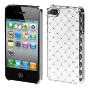 Insten® Luxurious Lattice Alloy Elite Dazzling Back Protector Cover W/Diamonds F/iPhone 4/4S, White