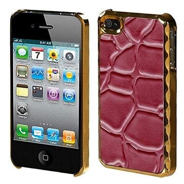 Insten® Alloy Executive Back Protector F/iPhone 4/4S, Hot-Pink Rose Gold Plating Stone Texture