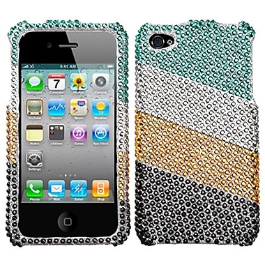 Insten® Diamante Stripes Protector Cover F/iPhone 4/4S, Green/Silver
