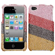 Insten® Diamante Stripes Protector Cover F/iPhone 4/4S, Pink/Red