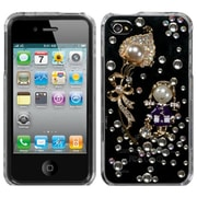 Insten® Crystal Premium 3D Diamante Protector Cover F/iPhone 4/4S, Debby Diamond/The Pearl Flower