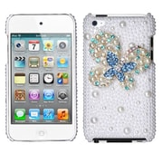 Insten® Diamante Back Protector Cover For iPod Touch 4th Gen, Blue-Dot Butterfly Pearl 3D