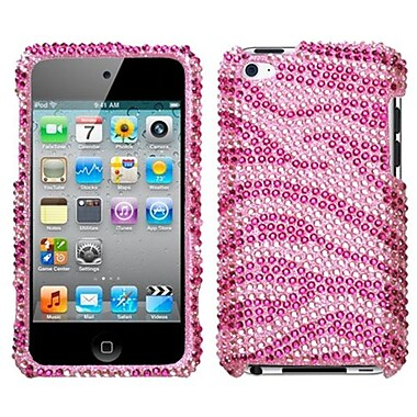 Insten® Diamante Faceplate Case For iPod Touch 4th Gen, Zebra Skin/Pink/Hot-Pink