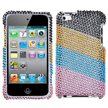 Insten® Protector Snap-In Cover For iPod Touch 4th Gen, Blue/Pink Stripes With Full Rhinestones
