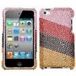 Insten® Diamante Phone Protector Cover For iPod Touch 4th Gen, Pink/Red Stripes