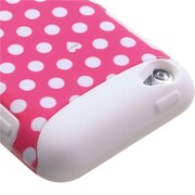Insten® TUFF Hybrid Protector Cover For iTouch, Pink Dots/Solid White