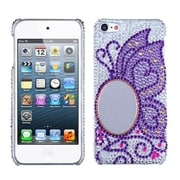 Insten® Diamante Back Protector Cover For iPod Touch 5th Gen, Purple Butterfly Oval Mirror Premium