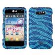 Insten® Protector Case For LG Motion 4G/MS770, Blue Zebra Diamond Crystal Bling