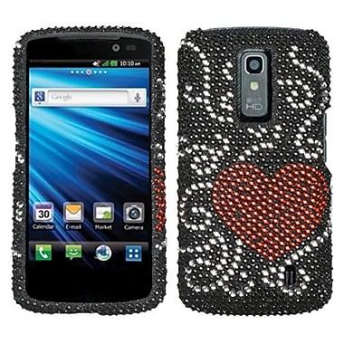 Insten® Diamante Protector Cover For LG P930 Nitro HD, Curve Heart
